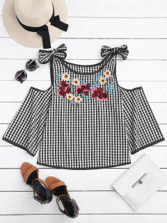 Floral Embroidered Gingham Cold Shoulder Top - Checked S