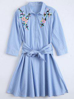 Tied Floral Embroidered Striped Shirt Dress - Blue M