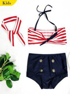 High Waisted Bandeau Bikini With Headband - Blue And Red 6t
