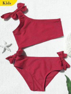 Tie Knot One Shoulder Girls Bikini Set - Red 5t