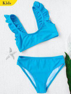 Bikini Plissé Et Bleu En Col Rond Pour Les Filles  - Bleu 5t