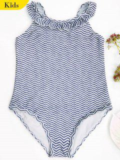 Frilled Zig Zag One Piece Swimwear - Blue And White 4t