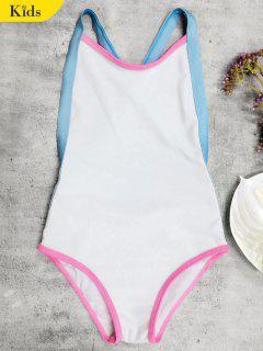 Open Back Tricolor Girls One Piece Swimwear - White 4t