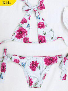 Halter Floral Tied Bikini For Kid - White 5t
