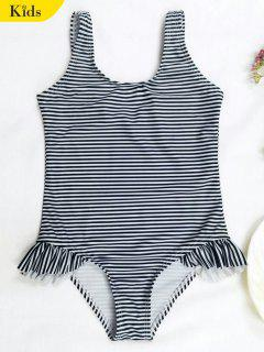 Back Low Cut Striped Ruffled Kid Swimsuit - Stripe 6t