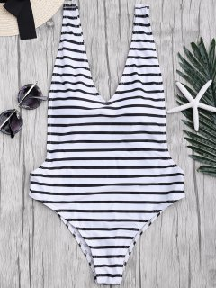 Side Boob Striped One Piece Swimsuit - White And Black L