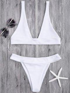 Plunge Bikini Top And High Cut Bottoms - White L