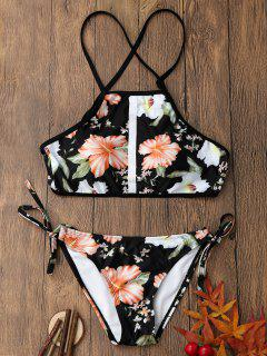 Floral Print Backless Crop Top Bikini Set - S