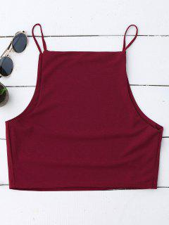 Cropped Dropped Armhole Cami Top - Wine Red M