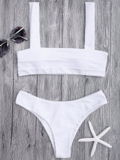 Bandeau Padded Bikini Top And Bottoms - White L