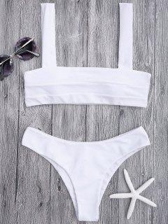 Bandeau Padded Bikini Top And Bottoms - White M