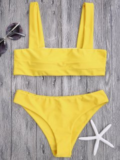 Bandeau Padded Bikini Top And Bottoms - Yellow M
