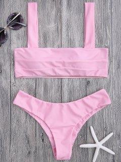 Bandeau Padded Bikini Top And Bottoms - Pink L