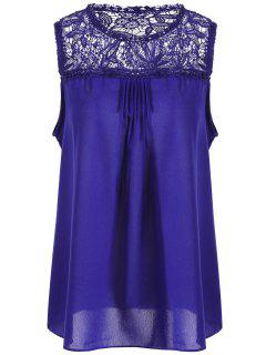 Lace Trim Chiffon Plus Size Sleeveless Top - Blue 2xl