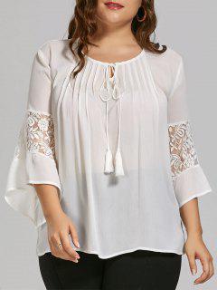 Plus Size Sheer Chiffon Bohemian Top With Lace Trim - White 4xl