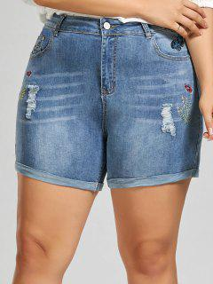 Embroidered Mini Denim Plus Size Shorts - Denim Blue 5xl