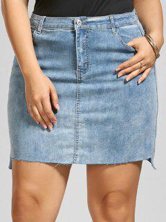 Fitted Mini Denim Plus Size Skirt - Denim Blue 3xl