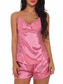 Slip Top With Shorts Satin Sleepwear - Pink L