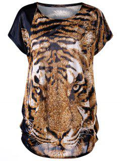 Plus Größe Tiger Print Baggy Top - Tiger Print