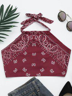 Printed Halter Neck Crop Top - Wine Red L