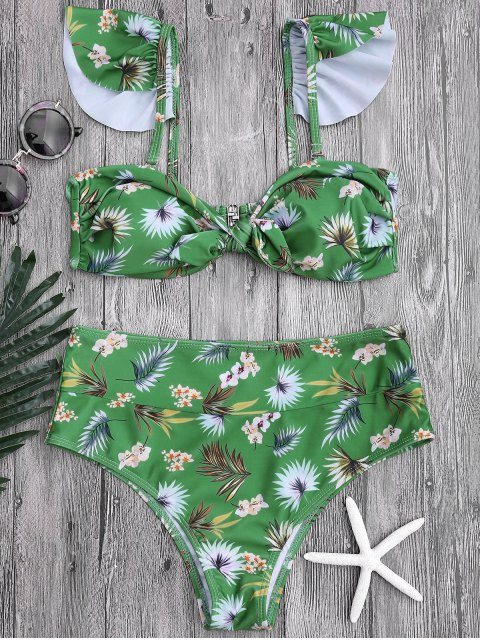 latest Floral Print Knotted High Waisted Bikini Set - GREEN S Mobile