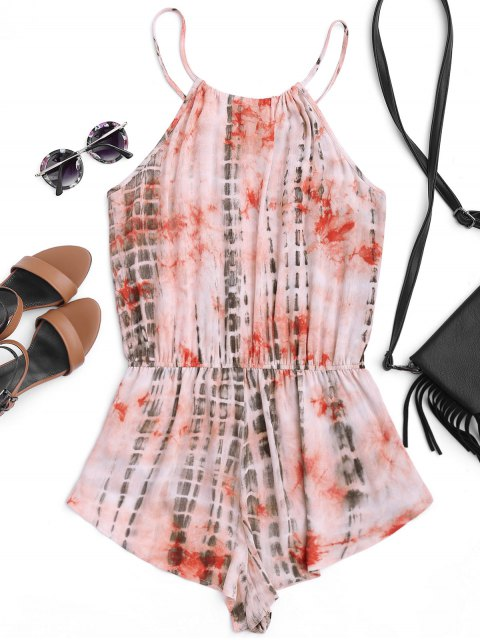 chic High Neck Layered Tie Dyed Romper - MULTICOLOR M Mobile