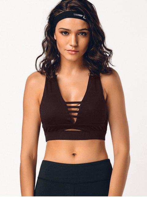 sale Cross Back Cut Out Padded Sporty Bra - CLARET M Mobile