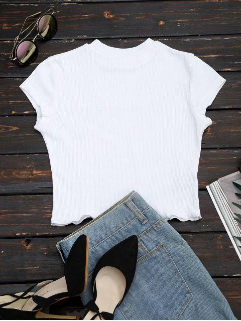 womens Ruffled Cropped Ribbed Top - WHITE S Mobile