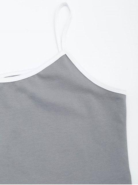 women's Cotton Color Block Cropped Tank Top - GRAY S Mobile