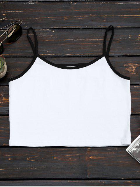 ladies Cotton Color Block Cropped Tank Top - WHITE M Mobile