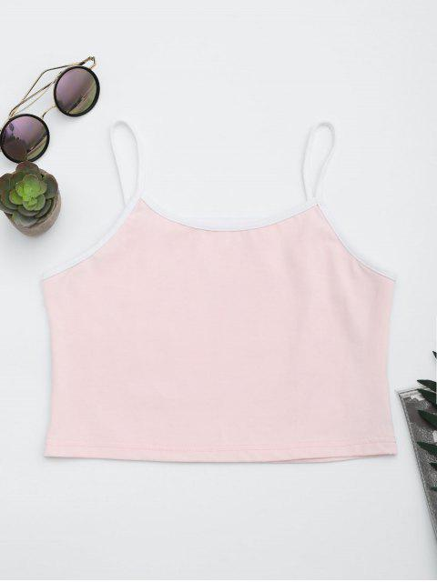 best Cotton Color Block Cropped Tank Top - PINK M Mobile