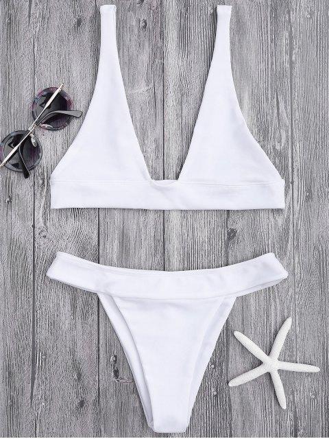 women Plunge Bikini Top and High Cut Bottoms - WHITE L Mobile