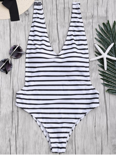 shop Side Boob Striped One Piece Swimsuit - WHITE AND BLACK M Mobile