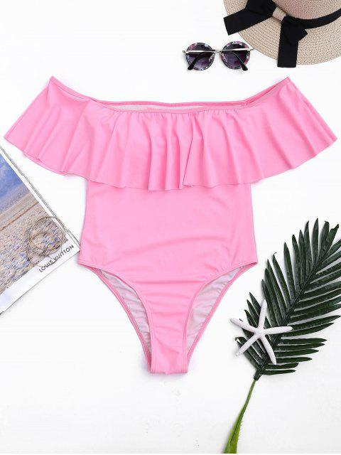 sale Off The Shoulder Overlay One-piece Swimsuit - PINK M Mobile