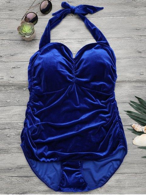 fashion Halter Padded Velvet Plus Size Bathing Suit - ROYAL XL Mobile