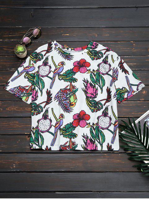 Top à grande taille imprimé de motif floral et d'oiseaux - Floral L Mobile
