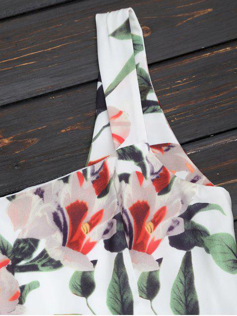 fancy Back Zipper Straps Floral Mini Dress - FLORAL S Mobile
