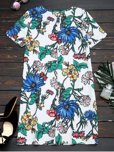 unique Short Sleeve Floral Straight Mini Dress - FLORAL L Mobile