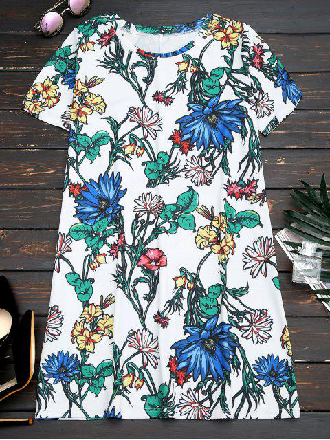 affordable Short Sleeve Floral Straight Mini Dress - FLORAL S Mobile