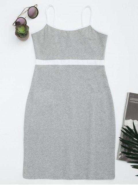 chic Two Tone Bodycon Slip Mini Dress - GRAY S Mobile