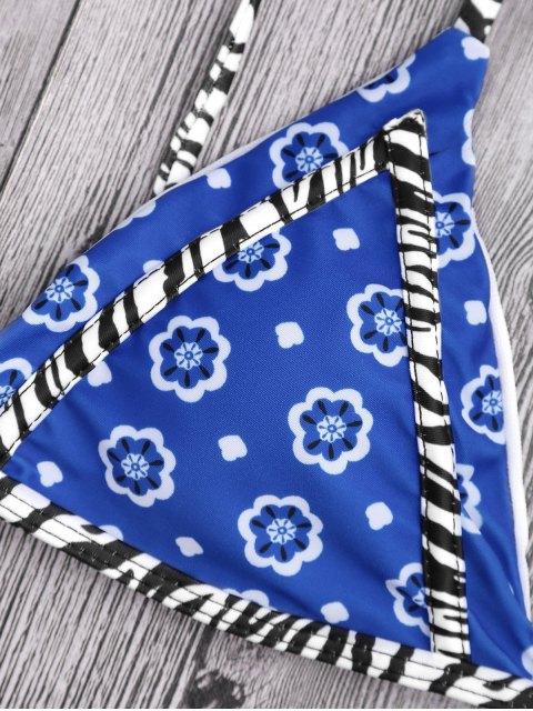 women's Floral Print Tanga String Bikini Set - BLUE S Mobile