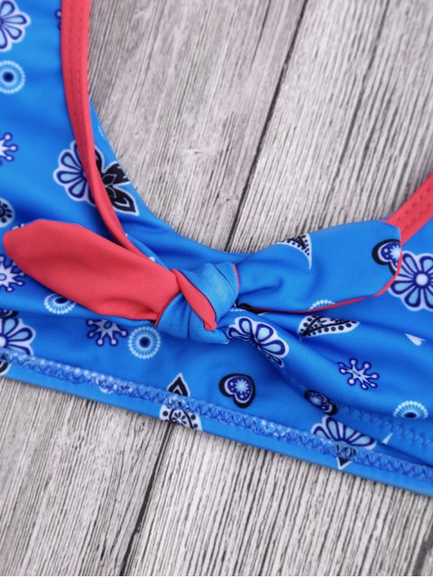 best Knotted Printed Frilled Scoop Bikini Set - BLUE S Mobile