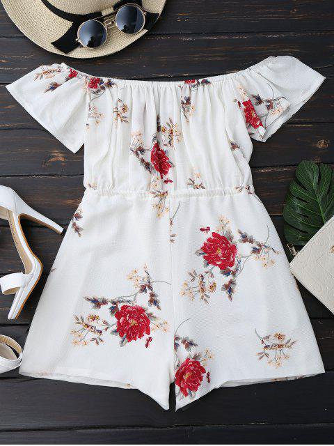 outfit Off The Shoulder Floral Drawstring Playsuit - WHITE S Mobile