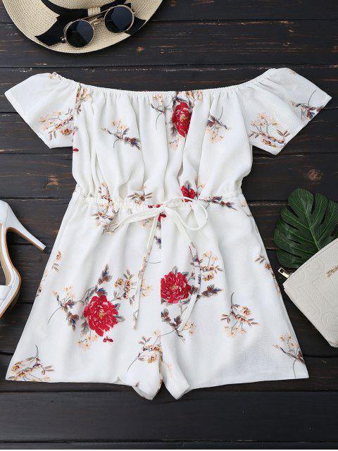 Schulterfreier Spielanzug mit Blumendruck und Kordelzug - Weiß XL  Mobile