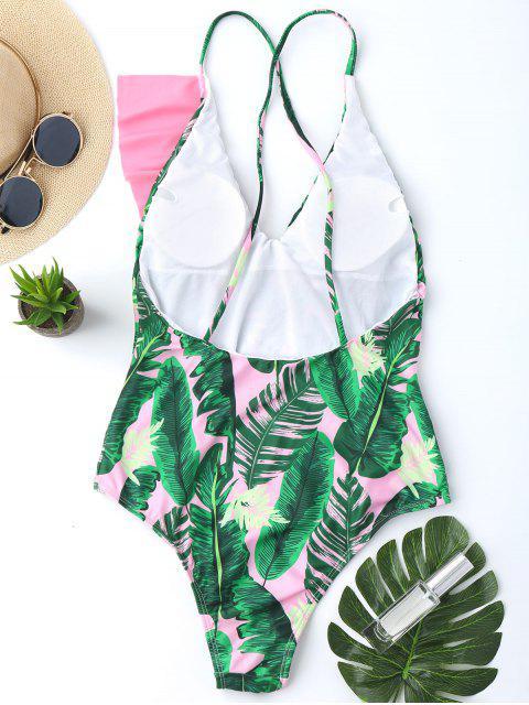 womens One Piece Ruffles Backless Palm Leaf Swimwear - PINK S Mobile