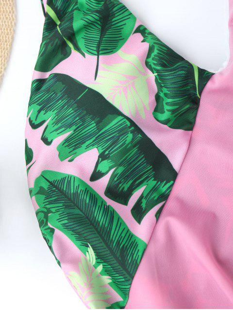 One Piece Ruffles Backless Palm Leaf Swimwear - ROSE PÂLE XL Mobile