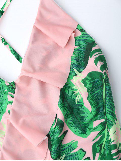 best Ruffles One Piece Palm Leaf Backless Swimsuit - PINK M Mobile