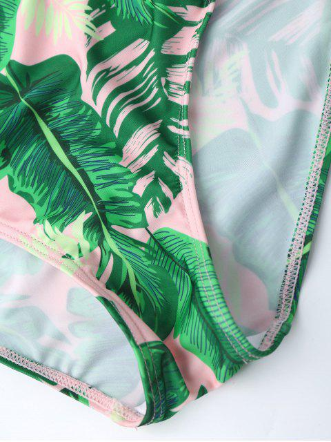 online Ruffles One Piece Palm Leaf Backless Swimsuit - PINK L Mobile