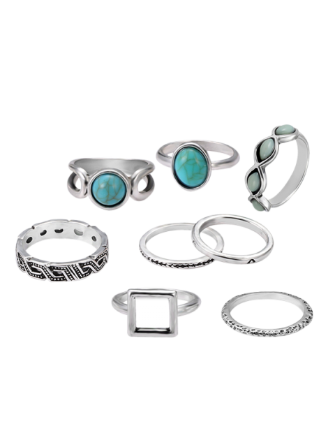 online Artificial Turquoise Oval Finger Ring Set - SILVER  Mobile