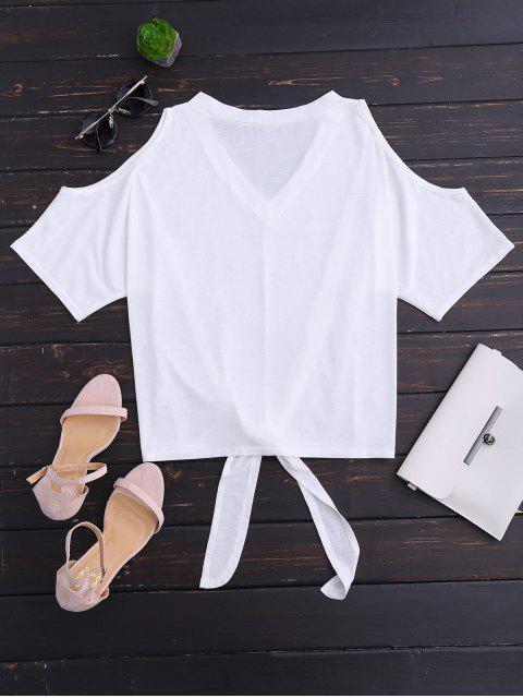 lady Cold Shoulder V Neck Self Tie Tee - WHITE S Mobile